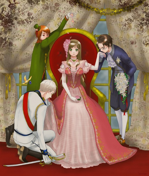Tags: Anime, Pixiv Id 2627764, Axis Powers: Hetalia, Romania, Austria, Prussia, Hungary, Reverse Harem, Bowing, Pixiv, Fanart, Fanart From Pixiv, Germanic Countries