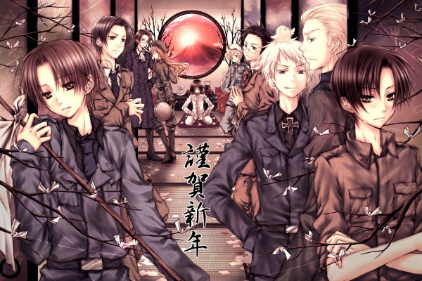 Tags: Anime, Pixiv Id 53806, Milkuro, Axis Powers: Hetalia, Austria, Japan, Bulgaria, Germany, Gilbird, North Italy, South Italy, Prussia, Finland