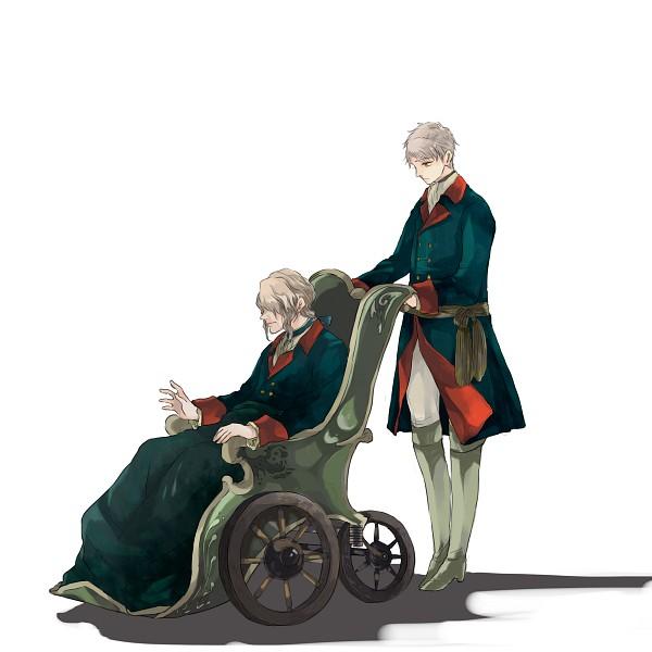 Tags: Anime, gorogoronyanko, Axis Powers: Hetalia, Prussia, Friedrich II, Wheel, Wheelchair, Pixiv, PNG Conversion, Fanart From Pixiv, Fanart, Germanic Countries