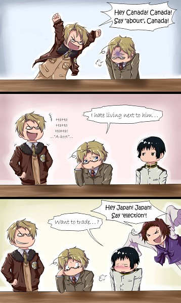Tags: Anime, Justmebeingadork, Axis Powers: Hetalia, Canada, United States, South Korea, Japan, Sigh, Korean Clothes, Accent, Comic, Mobile Wallpaper, Allied Forces