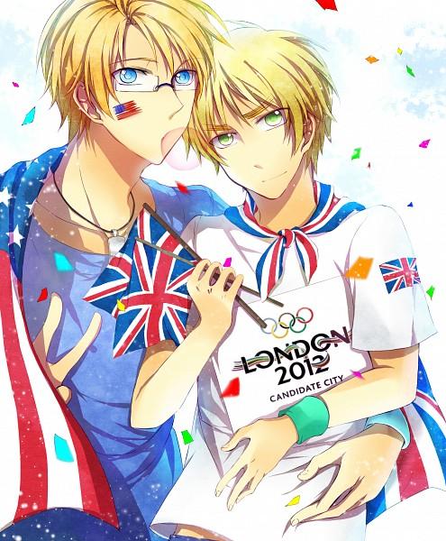 Tags: Anime, Pixiv Id 3658406, Axis Powers: Hetalia, United Kingdom, United States, Hand on Stomach, Fanart From Pixiv, Olympics, Fanart, Pixiv, USUK