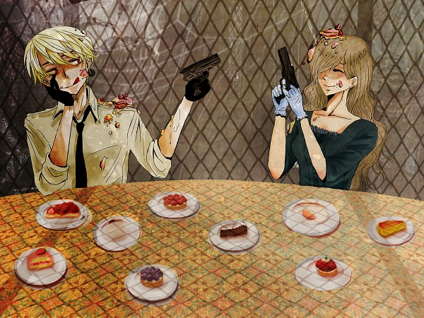 Tags: Anime, Axis Powers: Hetalia, Hungary, Romania, Aiming Up, Object On Head, Aiming At Another, Food On Body, Food On Head