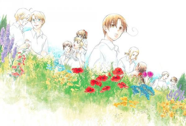 Tags: Anime, Ao Nago, Axis Powers: Hetalia, Japan, North Italy, Seychelles, Canada, Austria, Prussia, United Kingdom, France, United States, Daffodil