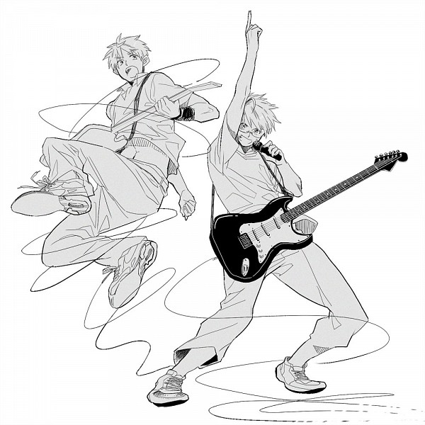 Tags: Anime, Runko, Axis Powers: Hetalia, United Kingdom, United States, Electric Guitar, Bass Guitar, Shirt Lift, Allied Forces