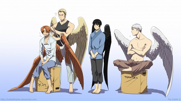 Tags: Anime, Hubedihubbe, Axis Powers: Hetalia, Japan, Germany, North Italy, Prussia, Sitting On Box, Slicked Back Hair, Fanart From DeviantART, deviantART, Facebook Cover, Wallpaper