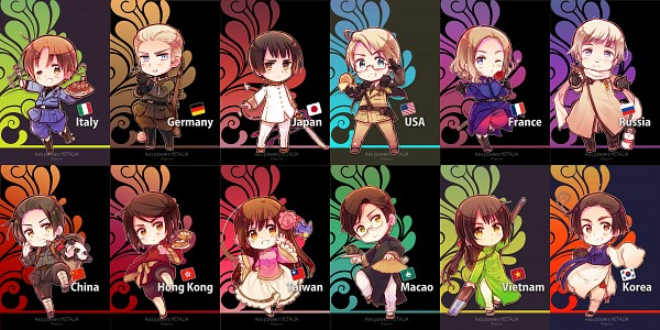 Tags: Anime, Himaruya Hidekaz, Axis Powers: Hetalia, North Italy, Japan, South Korea, Russia, Macau, Taiwan, Vietnam, China, United States, Hong Kong