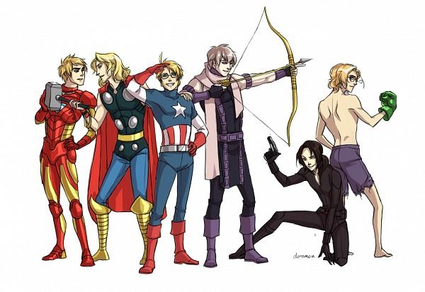 Tags: Anime, Petal-elf, Axis Powers: Hetalia, Russia, China, Canada, France, United Kingdom, United States, Hulk (Cosplay), Thor Odinson (Cosplay), Black Widow (Cosplay), Captain America (Cosplay)