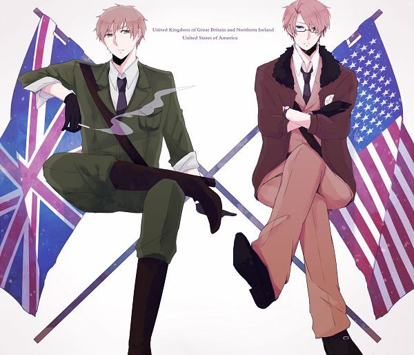 Tags: Anime, Fujino, Axis Powers: Hetalia, United Kingdom, United States, Fanart, Pixiv, Fanart From Pixiv, PNG Conversion, Allied Forces