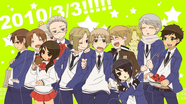 Tags: Anime, Pixiv Id 306129, Axis Powers: Hetalia, Japan, Spain, Russia, Gilbird, Seychelles, United Kingdom, Prussia, South Italy, United States, Hong Kong