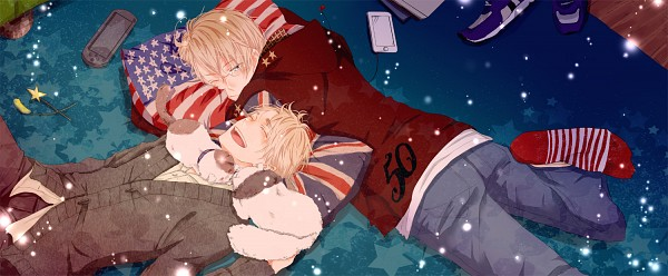 Tags: Anime, Asuka (ruu), Axis Powers: Hetalia, United Kingdom, United States, Tape, PSP, Fanart, Facebook Cover, Pixiv, Nekotalia, USUK