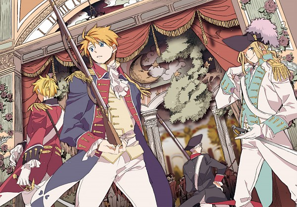 Tags: Anime, Runko, Axis Powers: Hetalia, France, United Kingdom, United States, Prussia, Fanart From Pixiv, Pixiv, Fanart, American Revolutionary War, Germanic Countries, Allied Forces