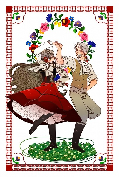 Tags: Anime, Pixiv Id 1415752, Axis Powers: Hetalia, Prussia, Hungary, Hungarian Traditional Clothing, Mobile Wallpaper, Germanic Countries