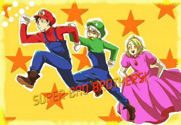Tags: Anime, Pixiv Id 1427787, Axis Powers: Hetalia, Spain, Prussia, France, Mario (Cosplay), Super Mario Bros. (Parody), Luigi (Cosplay), Princess Peach (Cosplay), Pixiv, Fanart, GIF Conversion