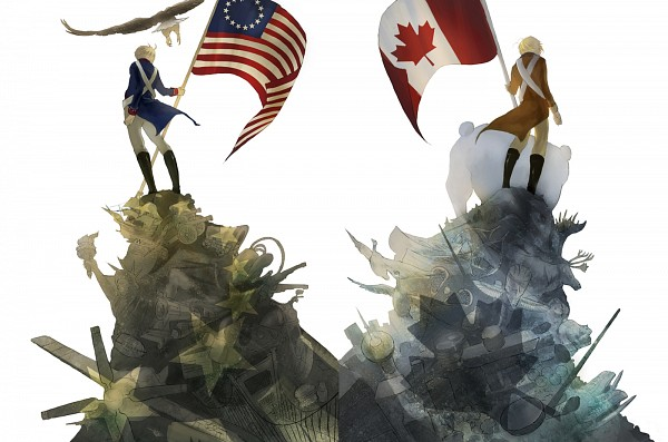 Tags: Anime, Hakuku, Axis Powers: Hetalia, Canada, United States, Kumajirou, War of 1812, Polar Bear, Timeline, Eagle, PNG Conversion, Pixiv, Fanart