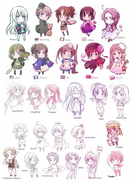 Tags: Anime, Himaruya Hidekaz, Axis Powers: Hetalia, Prussia (Female), South Italy (Female), Vietnam (Male), Austria (Female), Taiwan (Male), South Korea (Female), North Italy (Female), Principality of Wy (Male), United Kingdom (Female), Russia (Female)