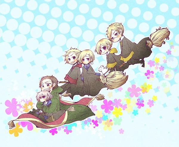 Tags: Anime, Pixiv Id 661690, Axis Powers: Hetalia, Hanatamago, Iceland, Finland, Norway, Sweden, Turkey, Denmark, Flying Carpet, Sideburns, Rug