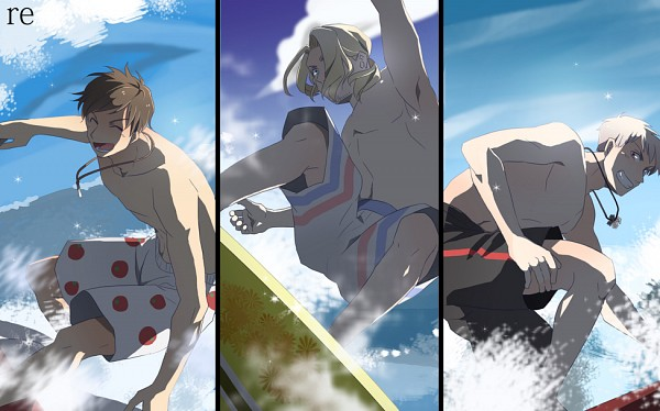 Tags: Anime, Pixiv Id 1342329, Axis Powers: Hetalia, Prussia, France, Spain, Surfboard, Surfing, Iron Cross, Fanart, Fanart From Pixiv, Pixiv, Mediterranean Countries
