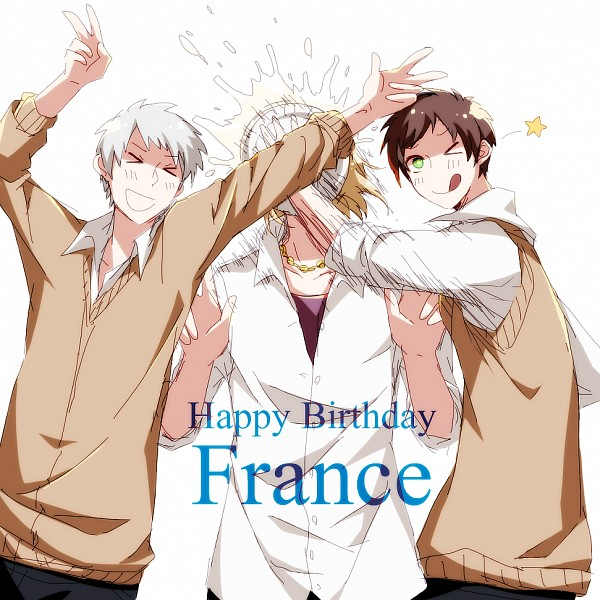 Tags: Anime, Pixiv Id 3393042, Axis Powers: Hetalia, Spain, Prussia, France, Covering Face, ;P, Pie, Pie In Face
