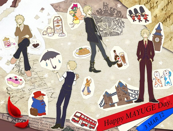 Tags: Anime, Pixiv Id 706472, Axis Powers: Hetalia, United Kingdom, Big Ben, Clock Tower, Toy Soldier (Toy), Bus, Paddington Bear, Map Background, Map, Peter Rabbit, Scone