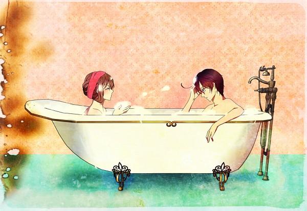 Tags: Anime, Hanezu, Axis Powers: Hetalia, Austria, Hungary, Bathroom, Washing, Bathtub, Germanic Countries, AusHun