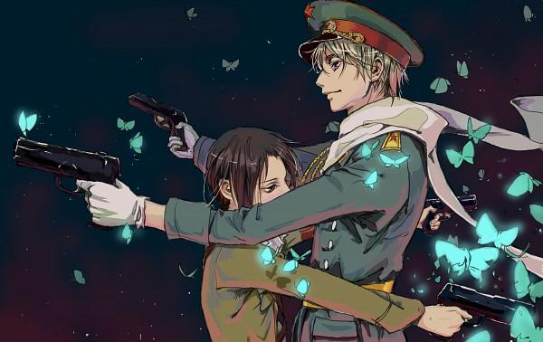 Tags: Anime, Pixiv Id 7486582, Axis Powers: Hetalia, Russia, China, Dual Guns