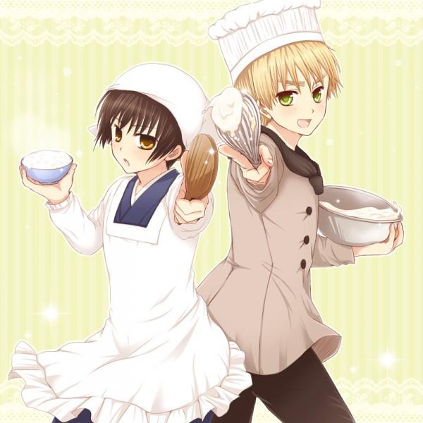 Tags: Anime, Izumi (Pixiv84019), Axis Powers: Hetalia, Japan, United Kingdom, Whisk, Chef Hat