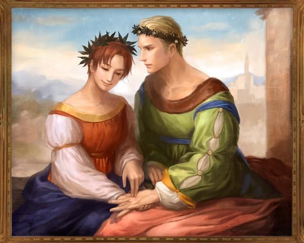 Tags: Anime, Erico Lotus, Axis Powers: Hetalia, Germany, North Italy, Laurel Wreath, Fanart, GerIta