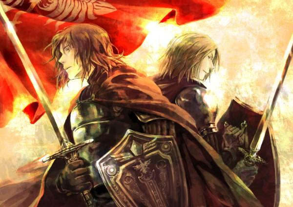 Tags: Anime, Kamamoto (Monotonecolor), Axis Powers: Hetalia, Lithuania, Poland, Eagle, Emblem, Knight, Battle Of Grunwald, Pixiv
