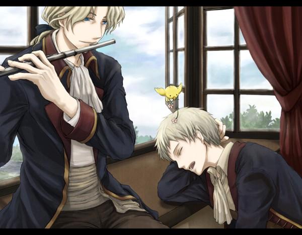Tags: Anime, Kazuha, Axis Powers: Hetalia, Gilbird, Prussia, Friedrich II, Flute, Axis Power Countries