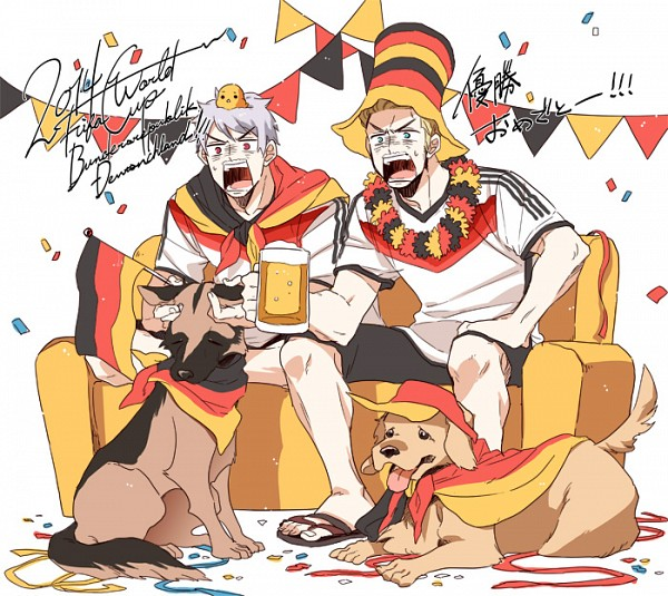 Tags: Anime, Runko, Axis Powers: Hetalia, Germany, Prussia, Gilbird, Golden Retriever, Streamers, German Shepherd, Flower Necklace, Banner, Flag Print, Pixiv