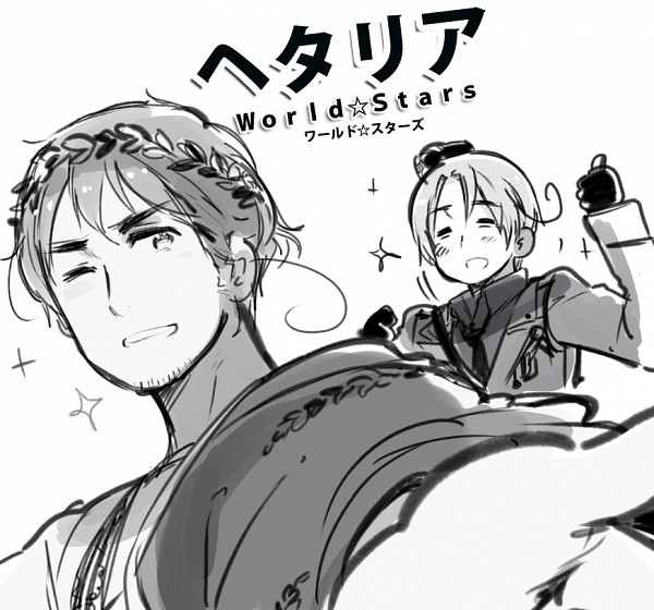 Tags: Anime, Rosel D, Axis Powers: Hetalia, North Italy, Nero Claudius Caesar Augustus Germanicus (Axis Powers: Hetalia), Toga, Grandfather And Grandson, Thumbs Up, Laurel Wreath, PNG Conversion