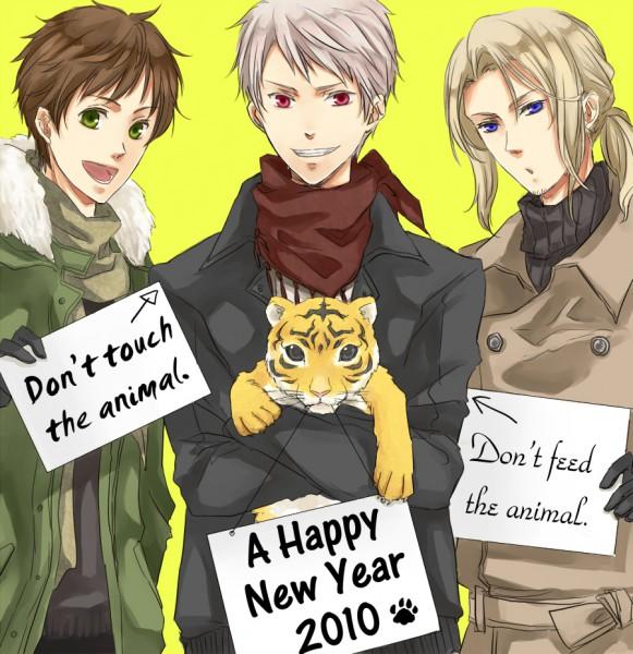 Tags: Anime, Orii (Pixiv1123766), Axis Powers: Hetalia, Spain, Prussia, France, Pixiv, Happy 2010