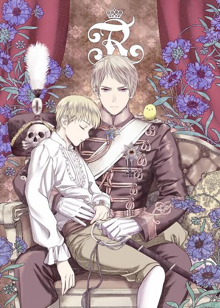 Tags: Anime, CoQ10, Axis Powers: Hetalia, Gilbird, Germany, Prussia, Skull And Crossbones, Fanart From Pixiv, Fanart, Mobile Wallpaper, Pixiv, GerPru