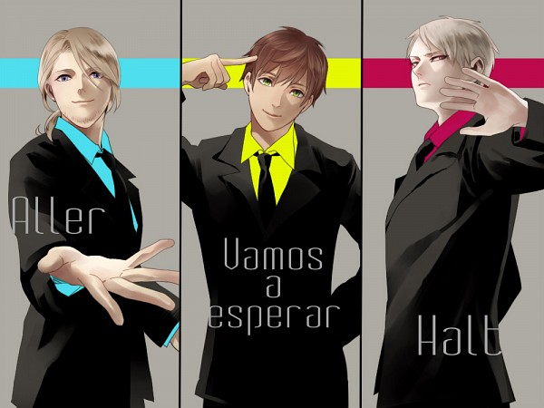 Tags: Anime, Pixiv Id 3626736, Axis Powers: Hetalia, Spain, Prussia, France, German Text, French Text, Spanish Text, 1000x750 Wallpaper