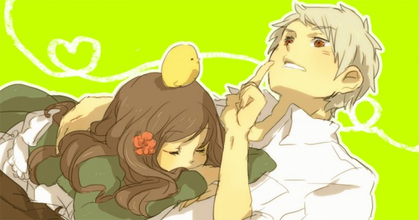 Tags: Anime, Tomo, Axis Powers: Hetalia, Prussia, Hungary, Gilbird, Bird on Head, Pixiv, Facebook Cover, Fanart