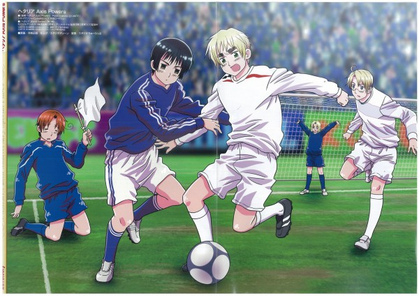 Tags: Anime, Kannan Masaaki, Axis Powers: Hetalia, Japan, United States, North Italy, Russia, France, United Kingdom, Playing, Official Art, Scan, 2010 Fifa World Cup