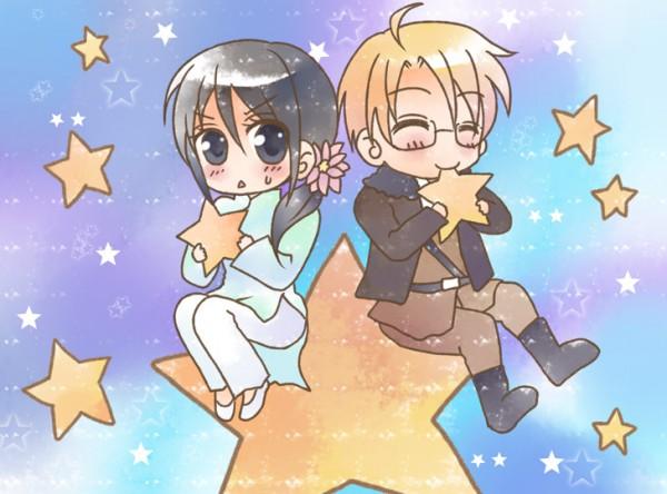 Tags: Anime, Kokonogi Kisala, Axis Powers: Hetalia, Vietnam, United States, Vietnamese Clothes, Aodai