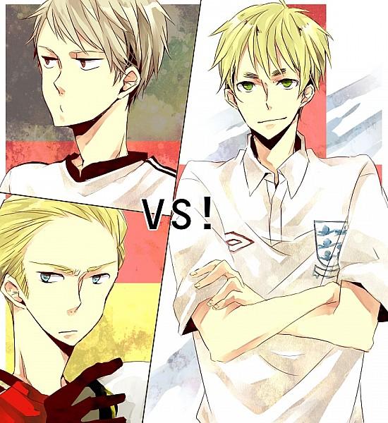 Tags: Anime, Axis Powers: Hetalia, United Kingdom, Germany, Prussia, VS, Flag Background, Artist Request