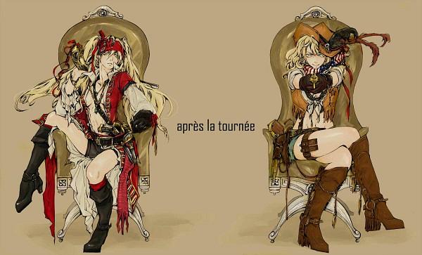 Tags: Anime, Wu Ma Zhi, Axis Powers: Hetalia, United States (Female), United Kingdom (Female), Cowboy, French Text, Western, Cowboy Boots, Nyotalia, Allied Forces