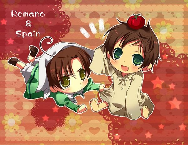 Tags: Anime, Beniko (Pixiv950883), Axis Powers: Hetalia, Chibimano, Spain, South Italy, Object On Head, Pixiv, Mediterranean Countries