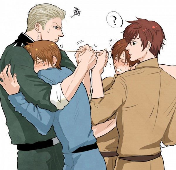 Tags: Anime, Natu Yasai, Axis Powers: Hetalia, South Italy, Spain, Germany, North Italy, Pulling, Trembling, Pulling Hair, Confused, Frustrated, Pixiv