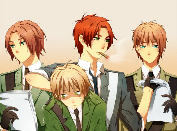 Tags: Anime, Vaunt93(Artist), Axis Powers: Hetalia, Wales, Scotland, Fan Character, United Kingdom, Ireland, Cigar, Fanart, Allied Forces