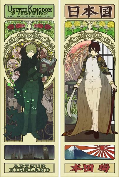 Tags: Anime, Mushi Kei, Axis Powers: Hetalia, Humpty Dumpty, United Kingdom, Japan, Mount Fuji, Sorcerer, Rising Sun Motif, Chrysanthemum, Art Nouveau, Big Ben, Pixiv