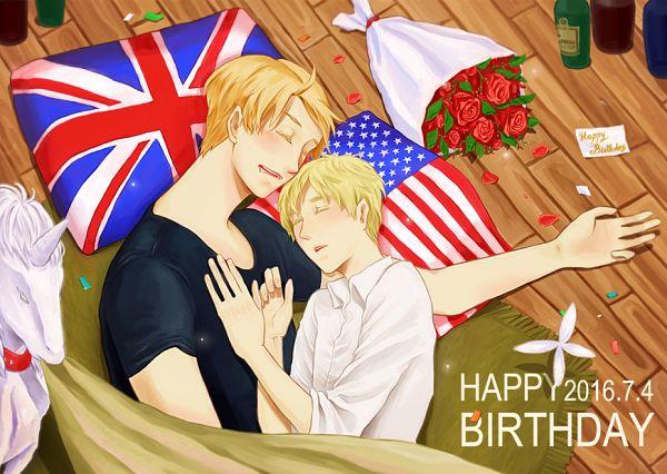 Tags: Anime, Pixiv Id 2372426, Axis Powers: Hetalia, United Kingdom, United States, Flag Print, USUK