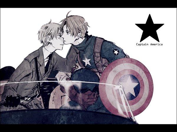 Tags: Anime, Aohara, Axis Powers: Hetalia, United Kingdom, United States, Hand on Neck, Captain America (Cosplay), Fanart From Pixiv, Fanart, Pixiv, USUK