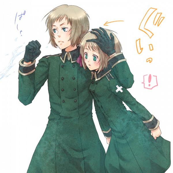 Tags: Anime, Myk (Pixiv1197821), Axis Powers: Hetalia, Switzerland, Liechtenstein