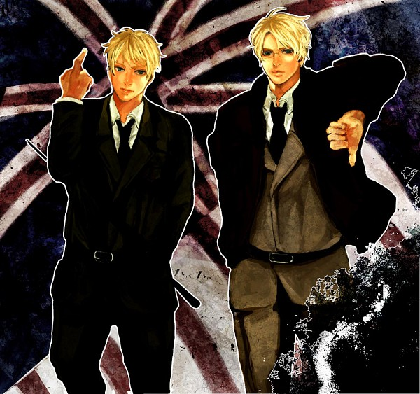 Tags: Anime, Axis Powers: Hetalia, United States, United Kingdom, Flag Background, Thumbs Down, Artist Request