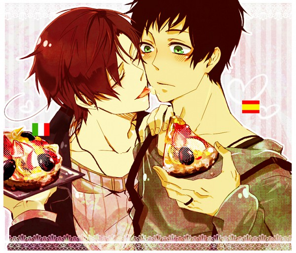 Tags: Anime, Pixiv Id 786891, Axis Powers: Hetalia, South Italy, Spain, Pizza, Mediterranean Countries, Spamano