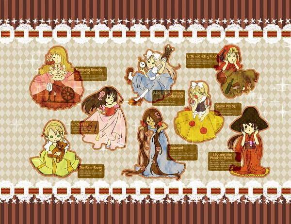 Tags: Anime, Pixiv Id 1560535, Cinderella, Rapunzel, Snow White and the Seven Dwarfs, Red Riding Hood, Sleeping Beauty, Alice in Wonderland, The Wooden Bowl, Lily And The Wooden Bowl, Axis Powers: Hetalia, Belarus, Liechtenstein