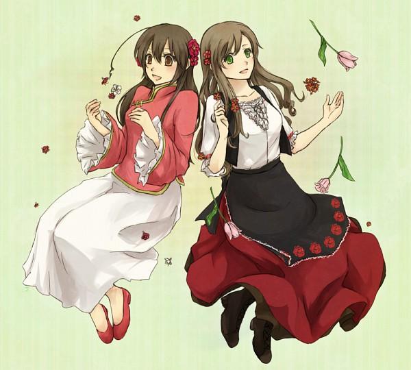 Tags: Anime, Suzu Kome, Axis Powers: Hetalia, Taiwan, Hungary, Tulip, Pixiv, Asian Countries